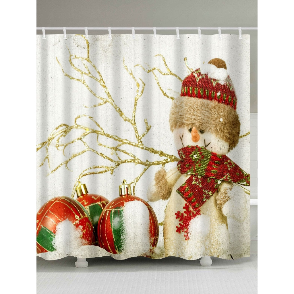 Christmas Snowman Print Fabric Waterproof Shower Curtain