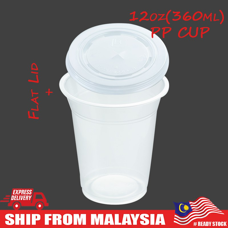 12oz/ 360ml PP Clear Cup with Flat Lid Take Away Disposable Plastic Cup 100pcs