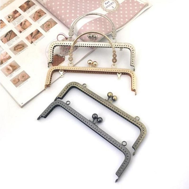 Luggage & Bags 25cm 5pcs Bronze Square Embossing With Holes Diy Hand Sewing Metal Clutch Bag Frame Black White Pearl Head Metal Purse Frame