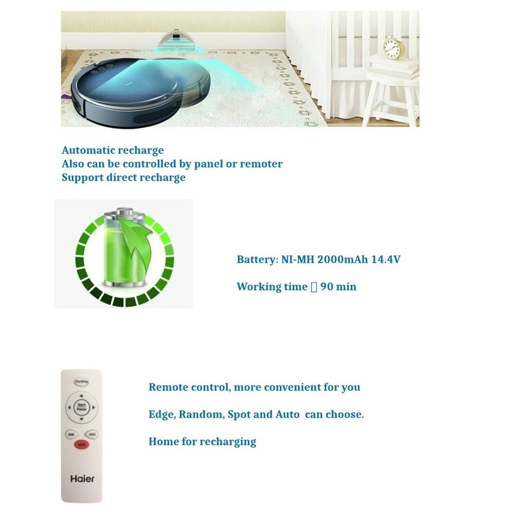 Haier Robotic Vacuum Cleaner - Automatic Mode/Spot Mode/Edge Mode/Single Room - 1 Year Haier Malaysia Warranty