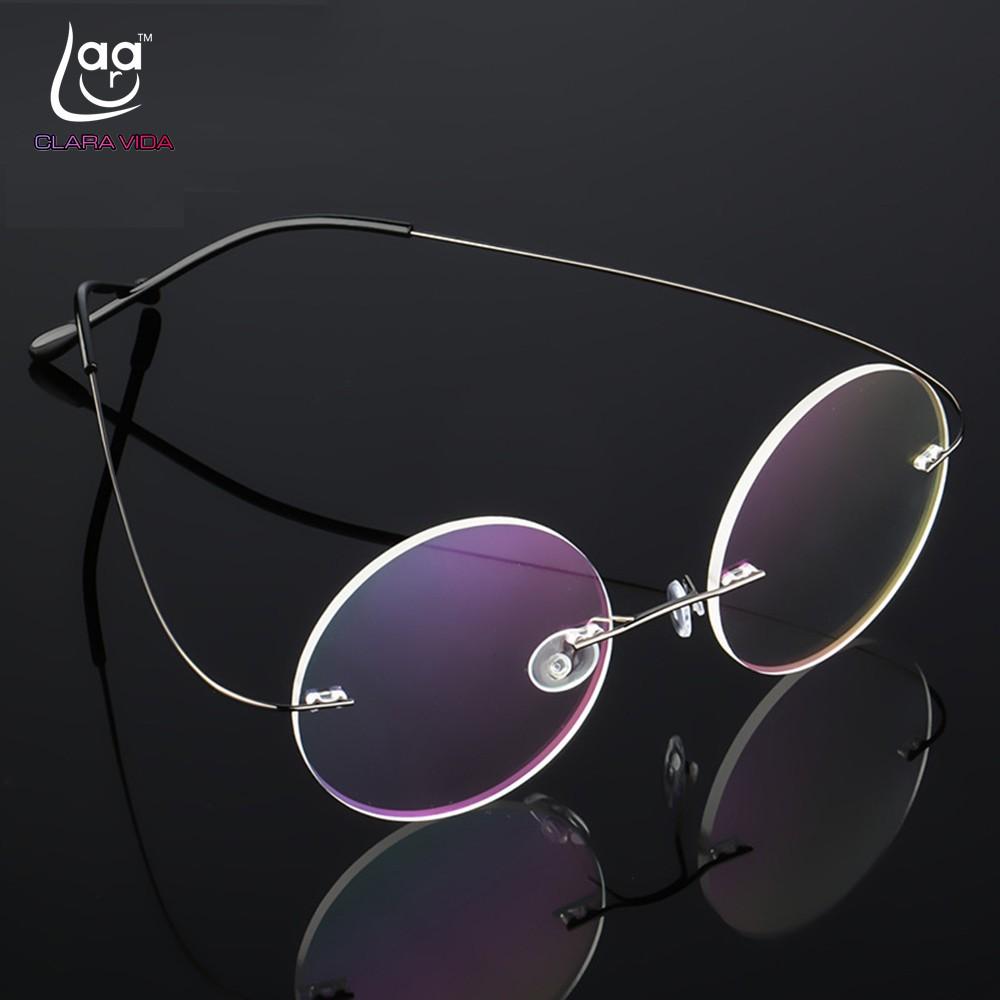 ee9f00feea4 RIMLESS blue glasses frame Clara Vida 2017 IP TITANIUM MEN SQUARE  COMMERCIAL