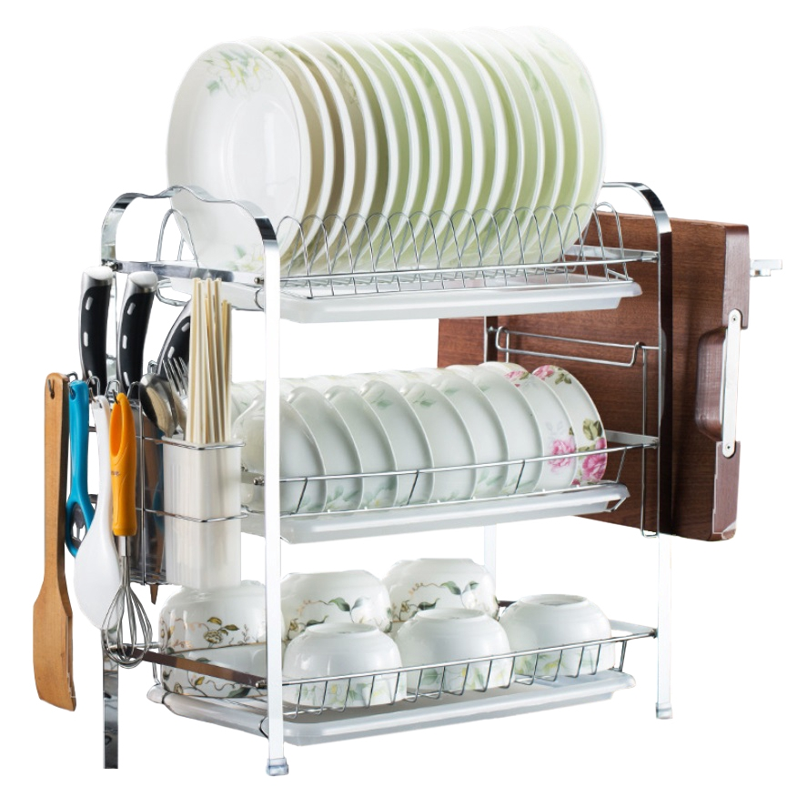 3-Tier Dish Rack with Chopping Board and Multi-Compartments - Silver/Green