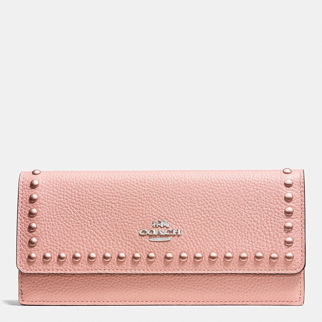 0ebbb15d3 COACH soft wallet in lacquer rivets pebble leather | Shopee Malaysia