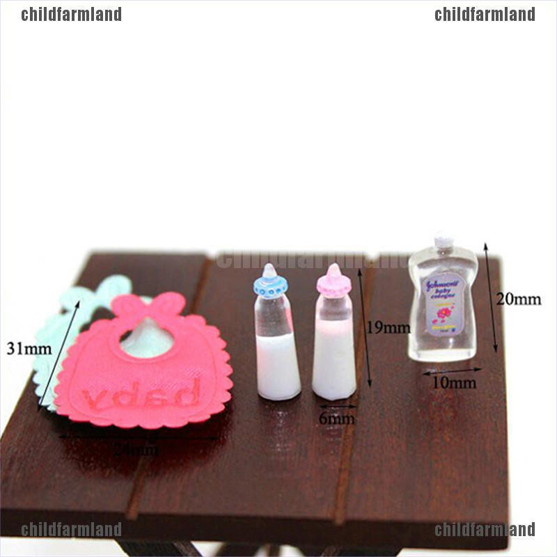 1:12 Baby Bottles Shampoo Bib Set Doll House Miniature Nursery Accessories New