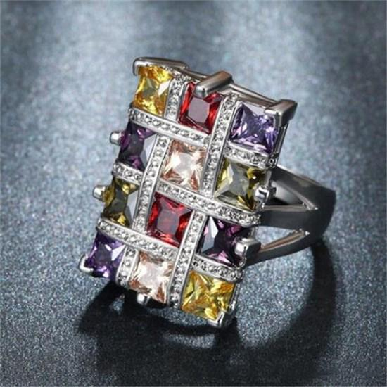 bf9999af38 Woman Jewelry Ruby Garnet Peridot Flower Rings Colorful Rhinestone Natural  Tanzanite