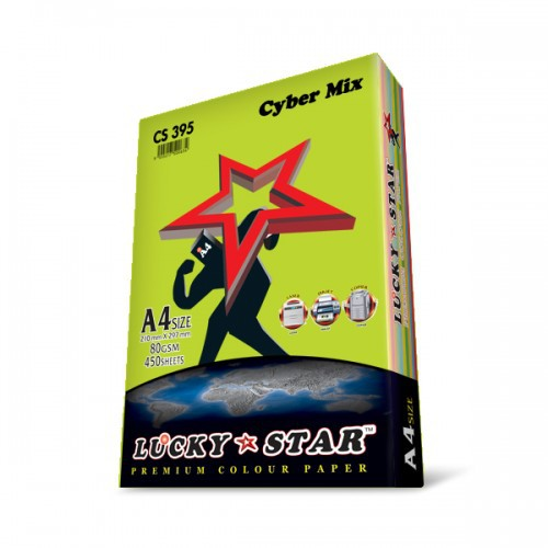LUCKY STAR A4 CYBER MIX COLOUR PAPER  80g 450s