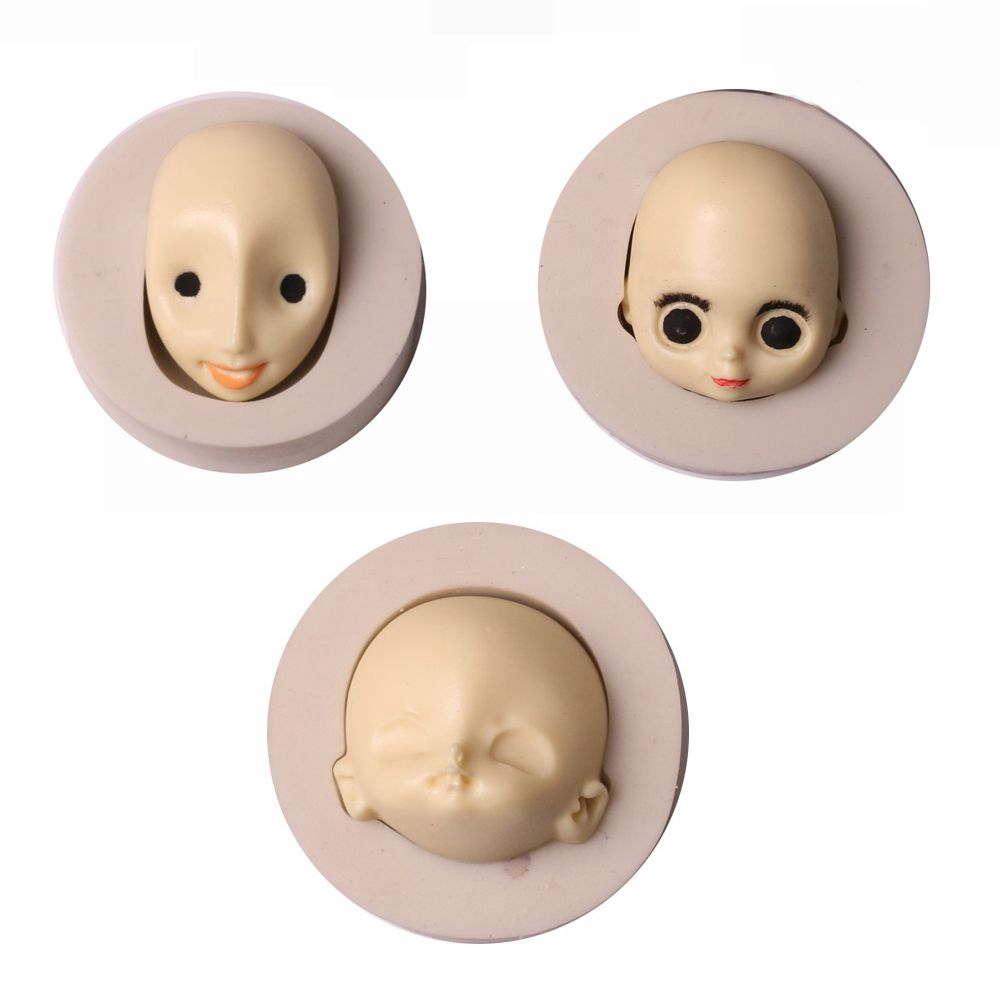 3D Baby Face Silicone Cake Mould Fondant Sugarpaste DIY Doll Head Mold TY
