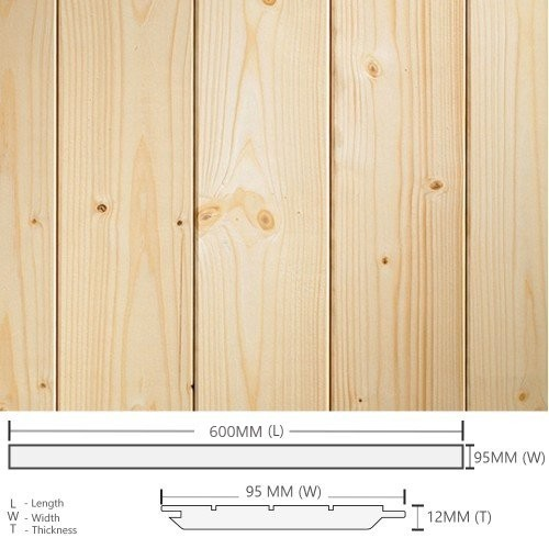Pine Wood Timber Panelling Board Smooth Planed Surfaced Four Sides (S4S) 12MM (T) x 95MM (W) x 600MM (L)