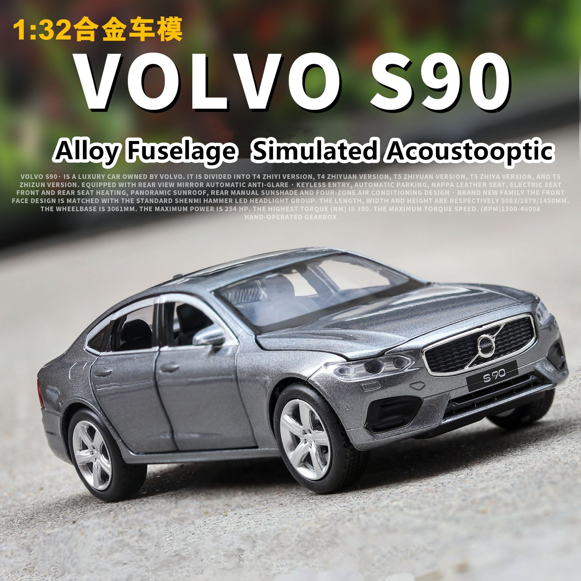 Volvo S90 1 32 Diecast Alloy Metal Licensed Luxury Sedan Car Model Collection Model Pull Back Sound Light Toys Vehicle Shopee Malaysia