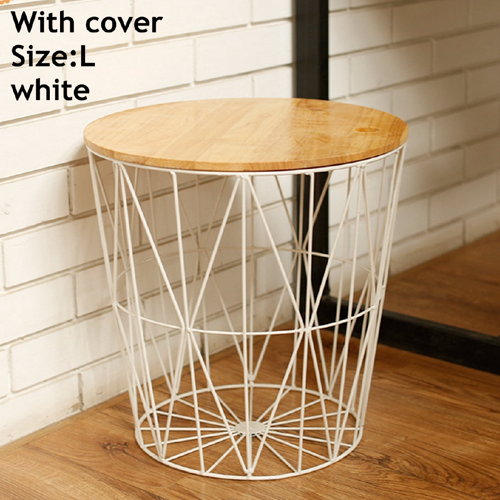 Picture of: Dongxi White Black Metal Wire Basket Wooden Top Side Table Storage Loft Living Home Furniture Shopee Malaysia