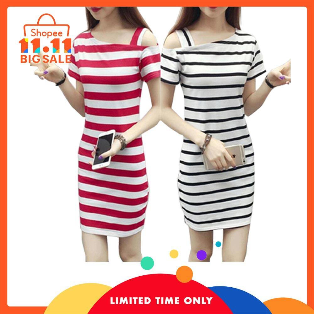 2b112e4fd825e Satrwee Women Summer Slim Dress Fashion Stripe Beach Casual Dresses Plus  Size