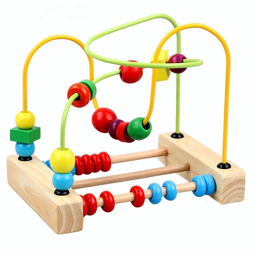 Children's Wooden Wire Maze Roller Coaster Toys Math Counting Circle Beads Abacus Educational Toys Gift