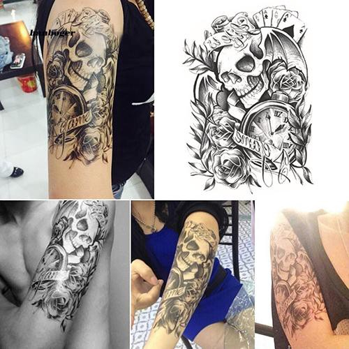 30fccd036970e Removable Stickers Skull Roses Body Art Tattoo Temporary Arm Tattoos  Waterproof | Shopee Malaysia