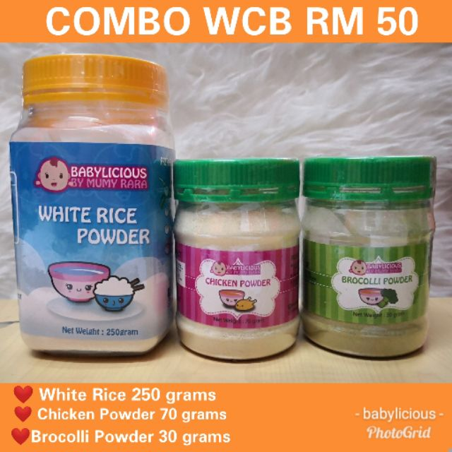 BABYFOOD COMBO WHITE RICE + CHICKEN + BROCOLLI RM 50