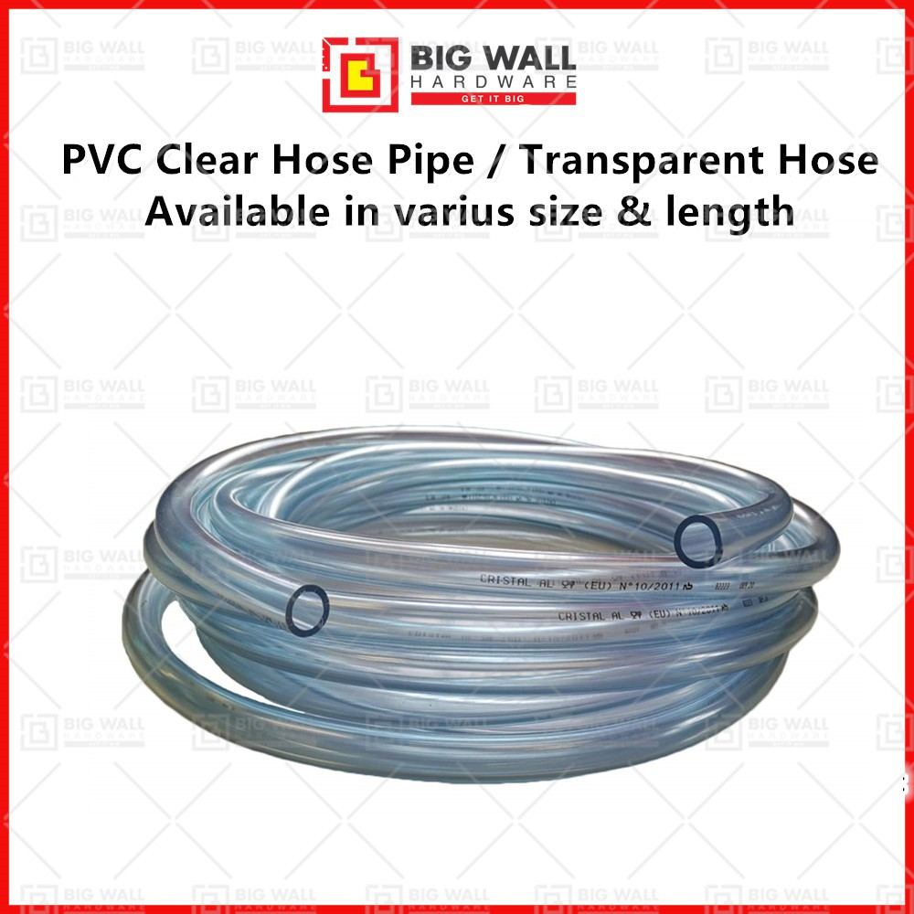 PVC Clear Hose Pipe/ Transparent Hose with Hose Clip (Per meter) Big Wall Hardware