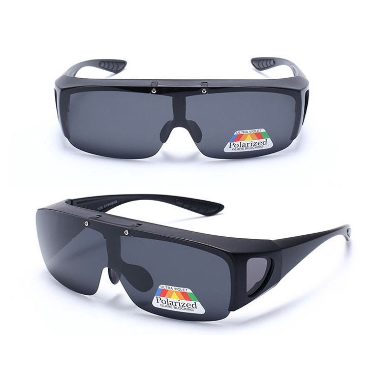Polarized Fit over wrap around Sunglasses Flip up Clip on eyeglass Driving Night