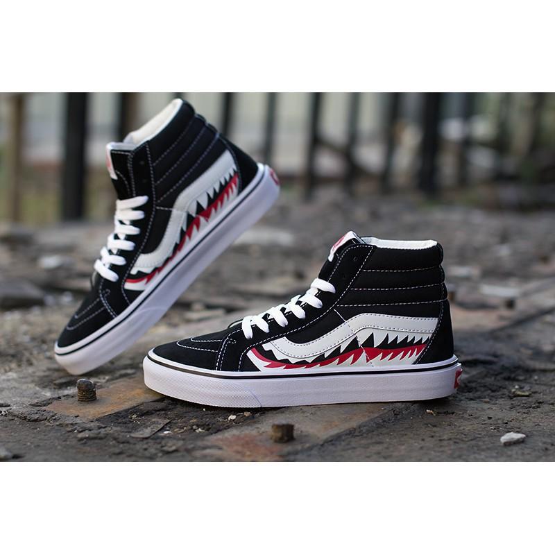 2018 Vans x Bape 17SS Black Shark Mouths Tooth Old Skool High Cut 36 44