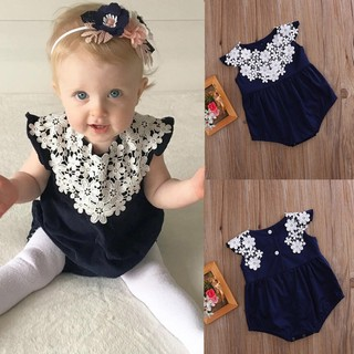 f61e624b98af Newborn Baby Girl Lace Floral Romper Jumpsuit Bodysuit Outfits Sunsuit  Clothes