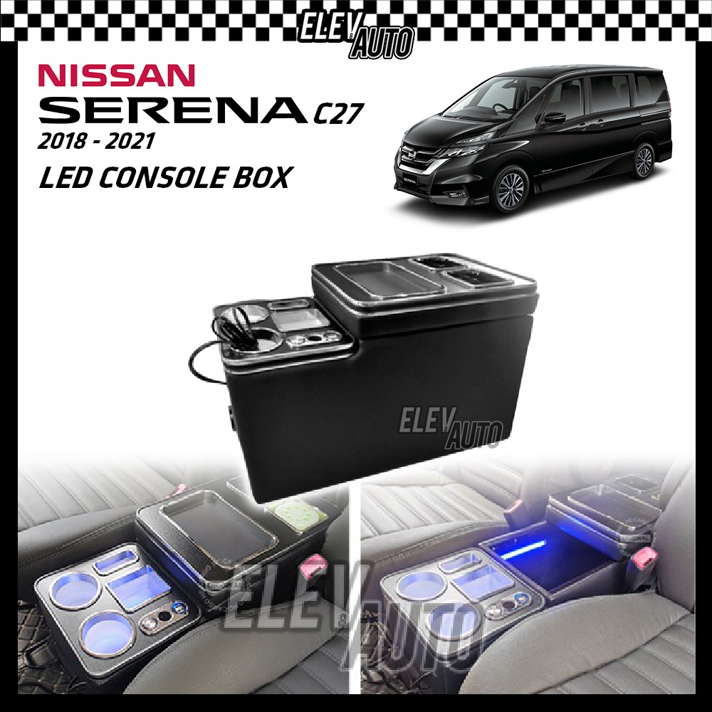 LED Center Console Box With USB Port Cig Lighter Nissan Serena C27 2018-2021