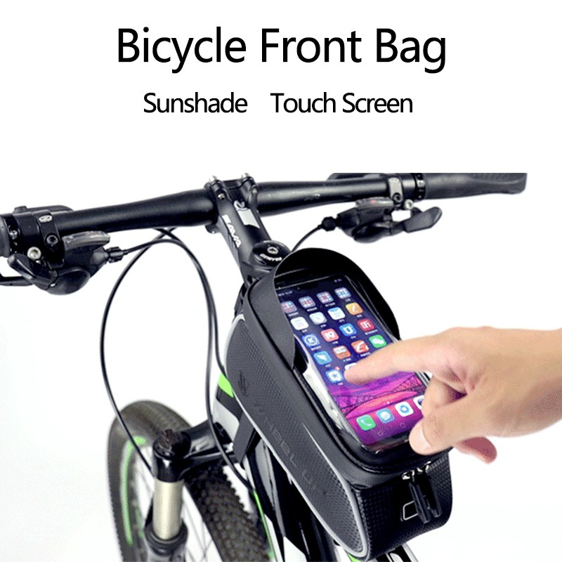 Lowest Price Bike Bag Bicycle Bag Bike Front Frame Bag Phone Case Touchscreen Tube Storage Pouch Phone Bag Cycling Top Tube Bag Waterproof Shopee Malaysia