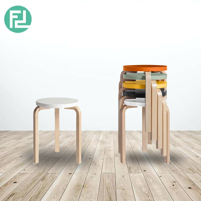 KYOTO SOLID WOOD STACKABLE STOOL-2 COLORS