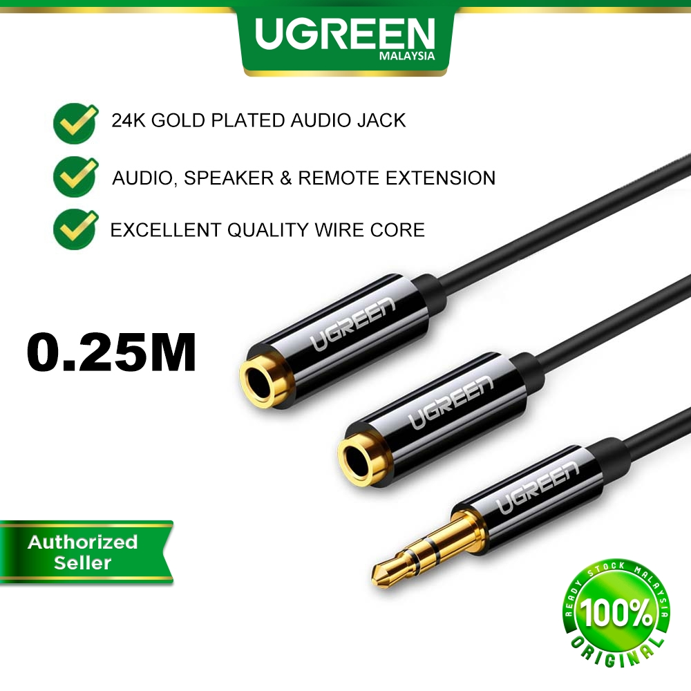 UGREEN 3.5mm Jack Earphone Aux Audio Splitter Adapter 1 Male to 2 Female Extension Aux Cable Android PC Laptop Car MP4