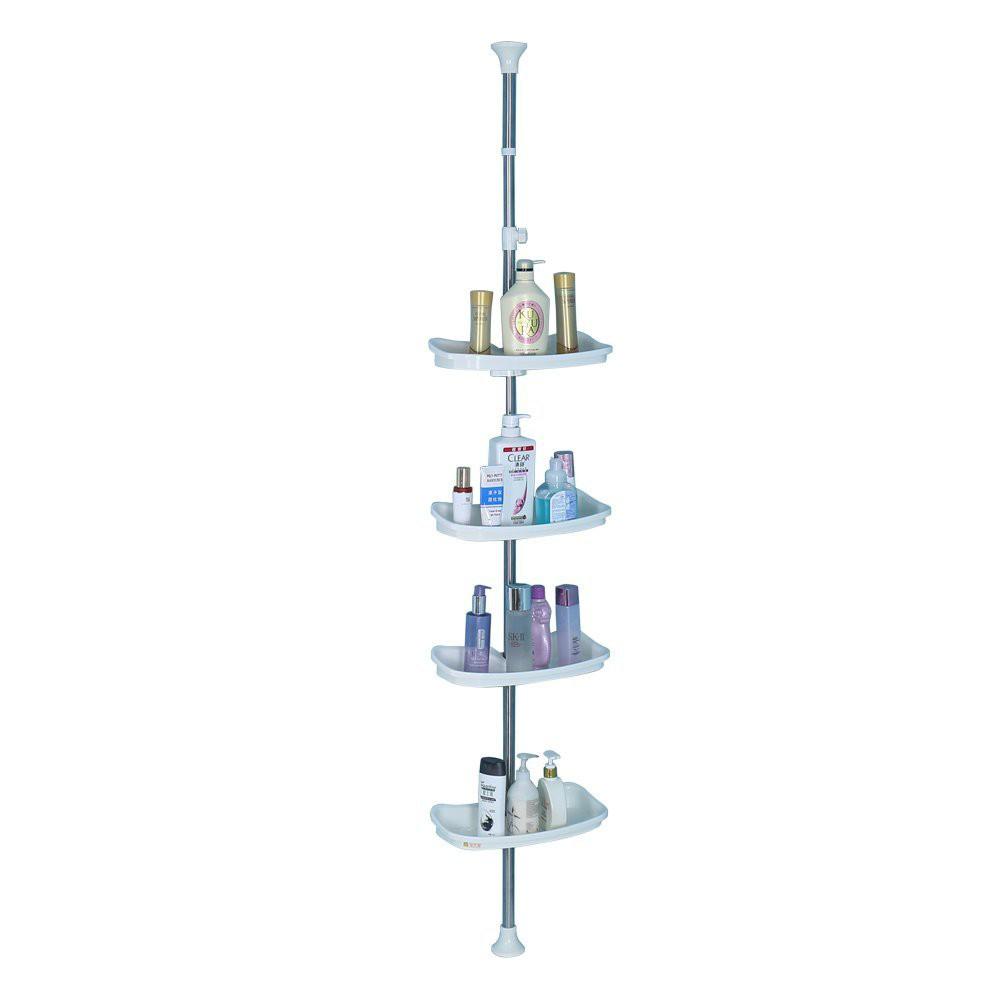 Bathroom Corner Shower Caddy Tension Pole Telescopic Storage Rack Shelves Ivory Shopee Malaysia