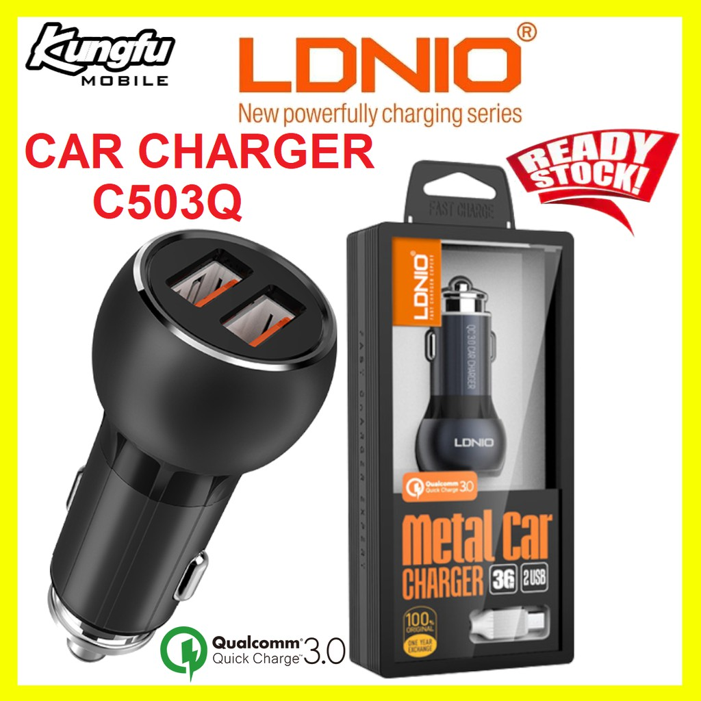 LDNIO C503Q Dual USB Quick Charge3.0 Car Charger With MICRO CABLE