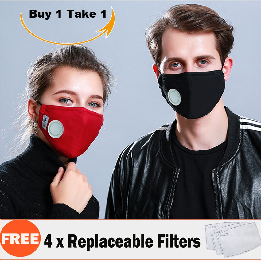 Buy 1 Take 1 Mouth Mask Anti Dust Cotton Respirator Anti PM 2 5 + Exhaust  Valve