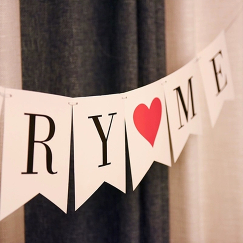 White Hearts 5m with 12 Flags Valentine/'s Day Polyester Bunting