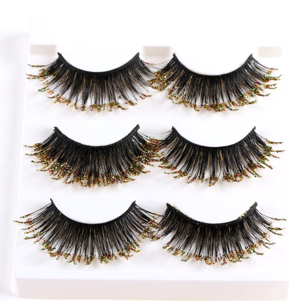 a8f98ff7807 ProductImage. ProductImage. SKONHED 3 Pairs Glitter Eye Lashes Extension 3D  Faux Mink Hair False Eyelashes