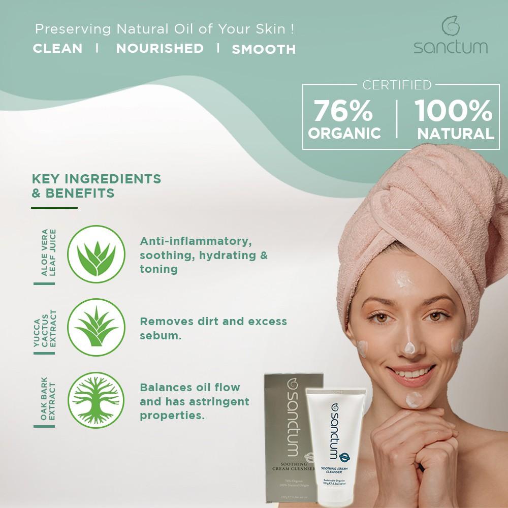 VALUE SET!Sanctum Organic Daily Cream Cleanser 150g + Firming Eye Balm Cream Serum 15g For Anti-Aging & All Skin Types