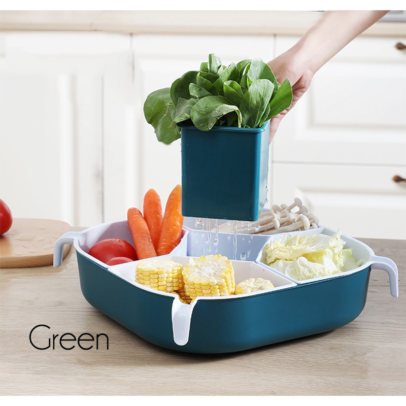 GDeal Rotating 360 Degree Hot Pot Platter Fruit Candy Nuts Steamboat Plate Container Storage Box With Compartments