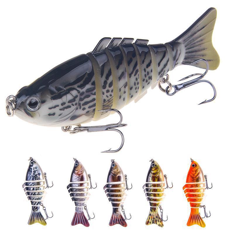 Section Large Multi Jointed Fishing Lure Swim Bait Lifelike Bass Treble Hook LIN