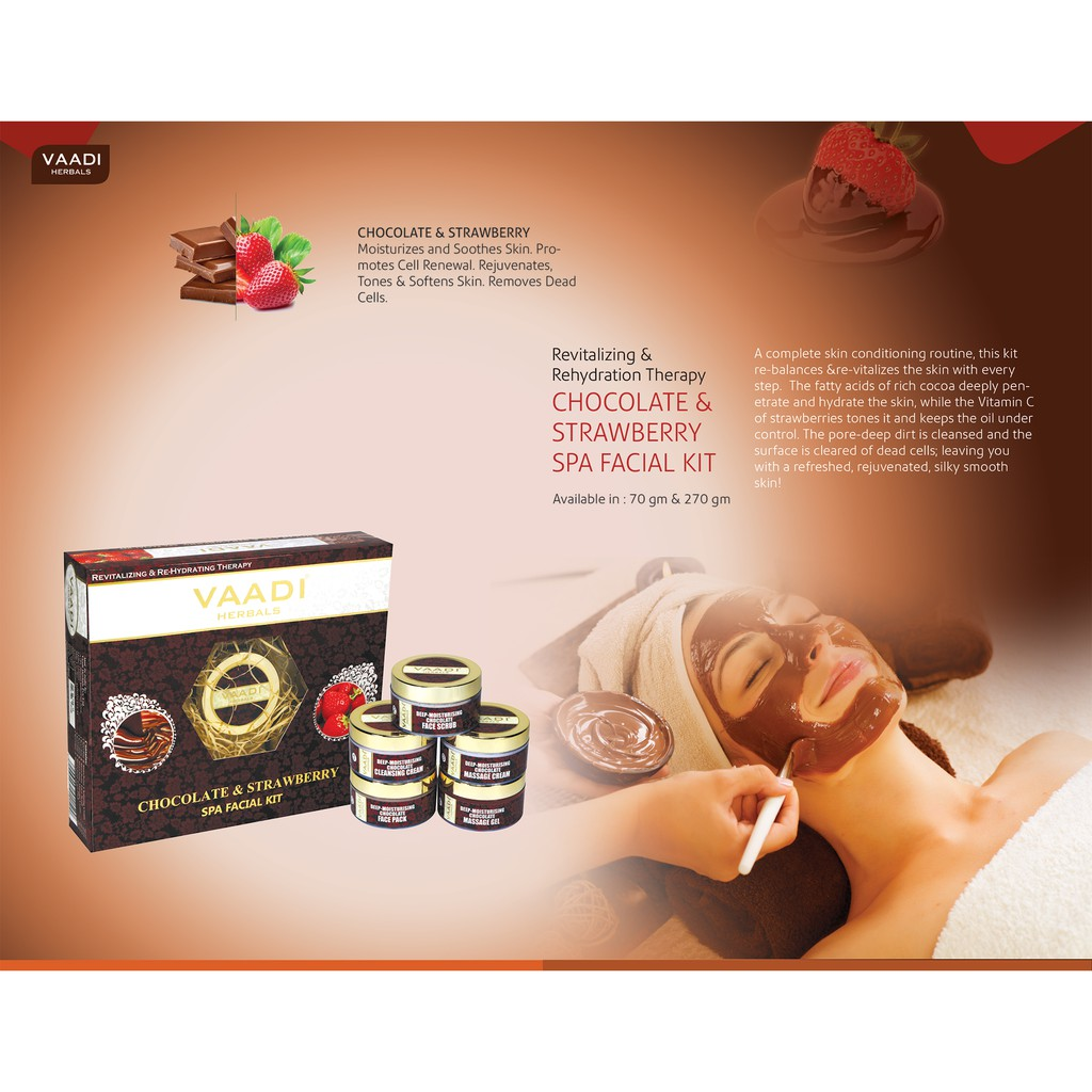 Vaadi Herbals - Chocolate & Strawberry SPA Facial Kit - 70g