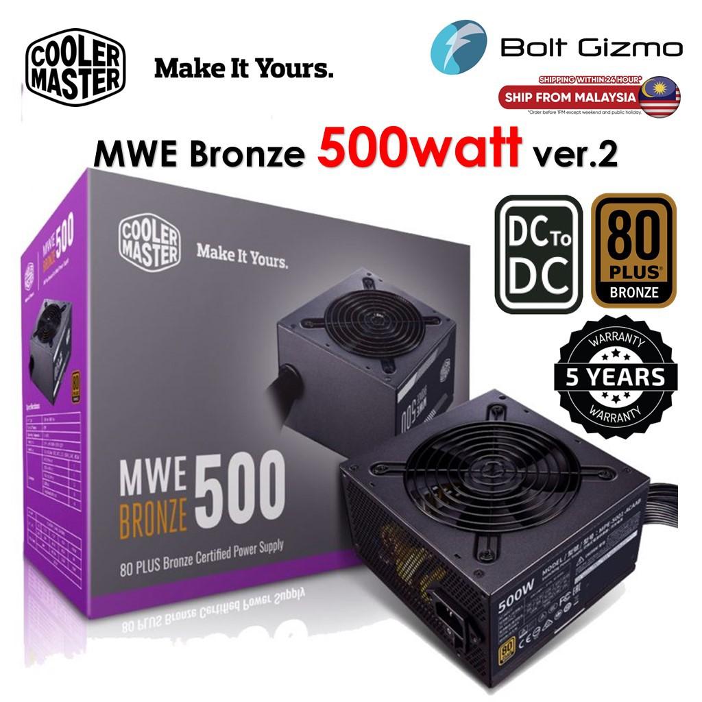Cooler Master MWE Bronze 500 ver.2 500watt 80 PLUS Bronze Certified Power Supply (MPE-5001-ACAAB-UK)