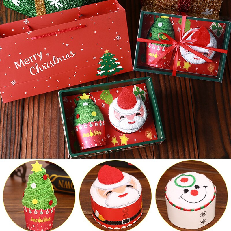 Cute Santa Claus Xmas Christmas Tree Towel Washcloth Cotton-Bath/_Towels