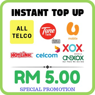 RM5 INSTANT TOP UP prepaid with DISCOUNT