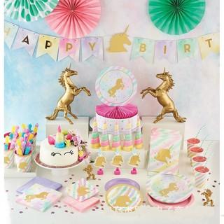 Kids Unicorn Theme Gold plating Party Decoration Happy Birthday Decoration