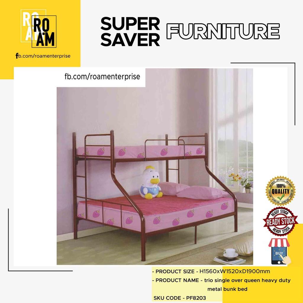 PF8203 trio single over queen heavy duty metal bunk bed- Maroon