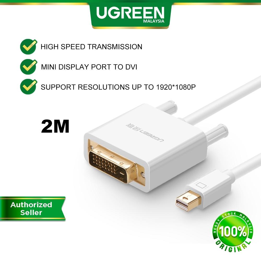 UGREEN 2M Mini DisplayPort to DVI 24 1 Male Adapter Converter Audio Video Cable Macbook Dell TV Monitor Projector Laptop