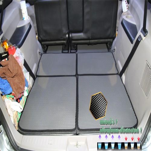Mitsubishi Space wagon 2010-2013 Trunk พรมรถยนต์เข้ารูป2ชั้นแบบรูรังผึ้ง Blackhole C