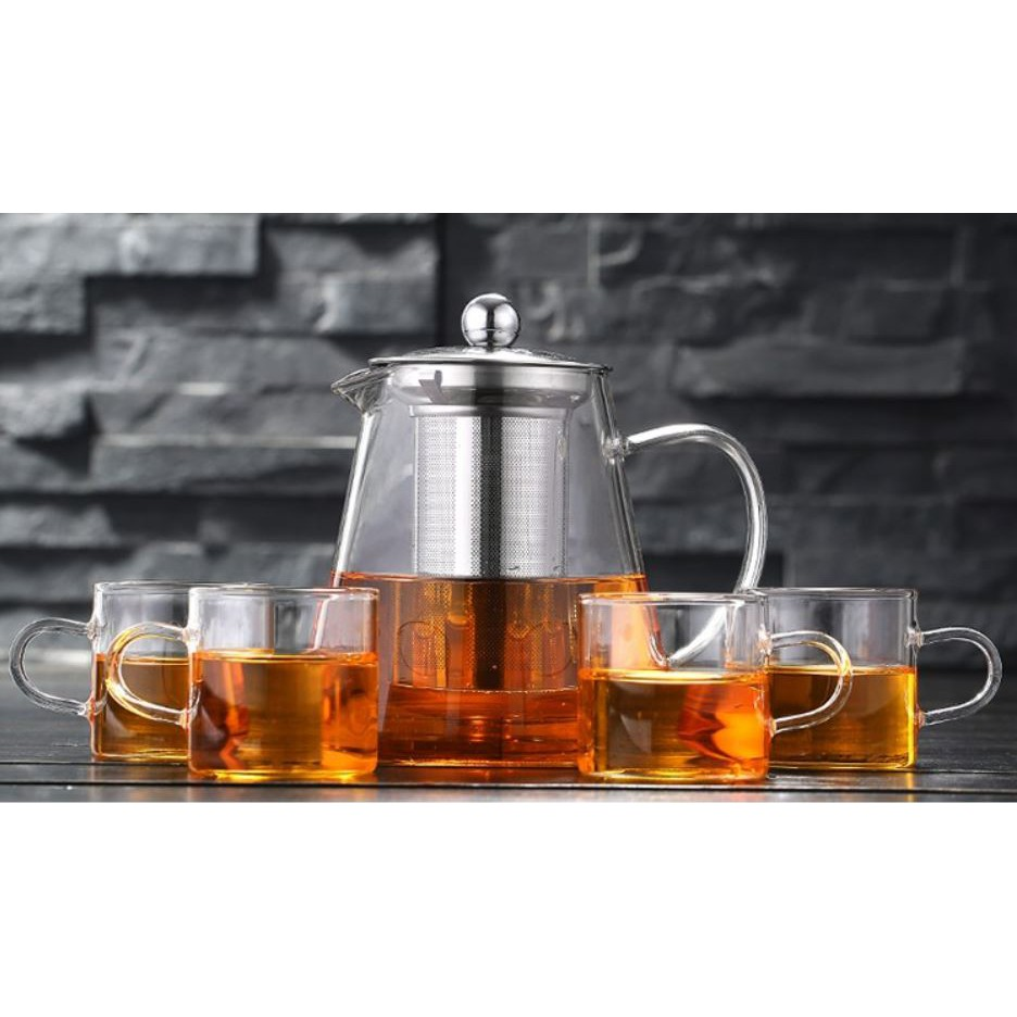 Glass teapot with stainless steel strainer + 4 glass mugs