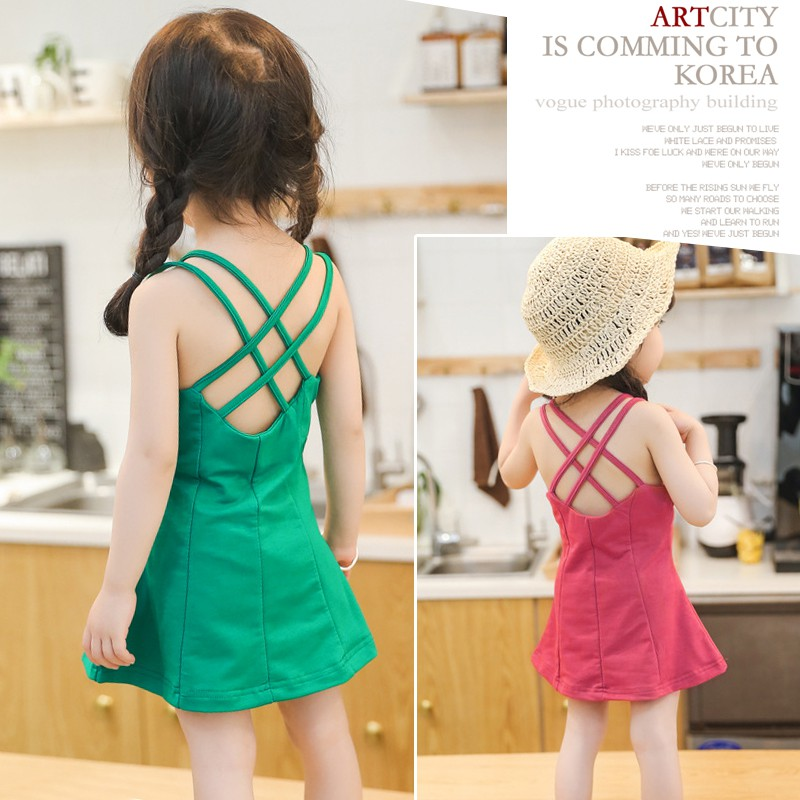 Baby Girl Kids Clothing Summer Strap Dress Beach Skirt 女童连衣裙公主裙