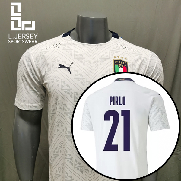 [Player Issue] Italy Men Away Season 20/21 DRYCELL Jersey with #21 PIRLO + Patch Printing