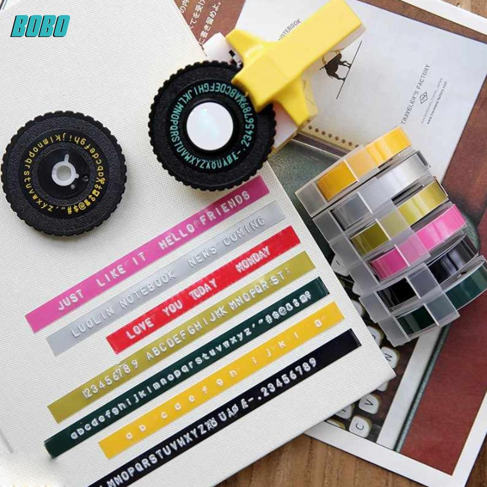 No Batteries Required Mini 3D Creative Manual DIY Plastic Lettering Machine Embossing Typewriter Label Embossing Printer Black