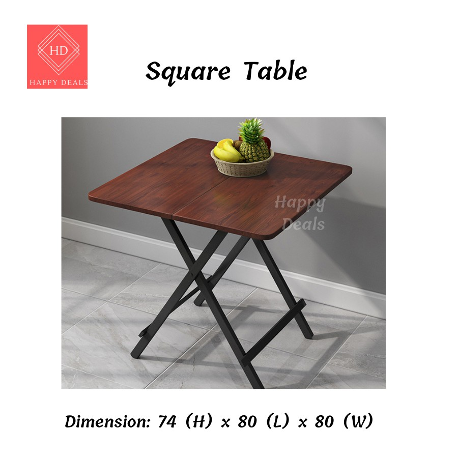 HappyDeals Foldable Table Dining Table Simple Folding Portable Table Stall Square Table Meja Lipat Meja Makan Dining Set