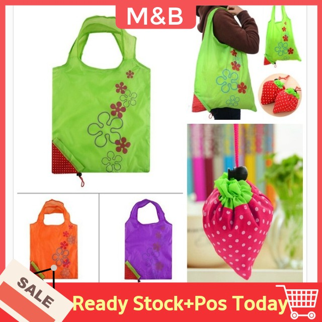 Portable Strawberry Eco Reusable Recycle Handbag Foldable Shopping Tote Bags