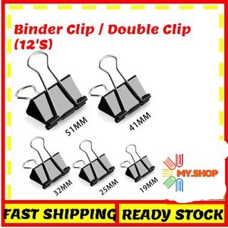 Binder clips 19mm/25mm/32mm/41mm/51mm per box 12pcs