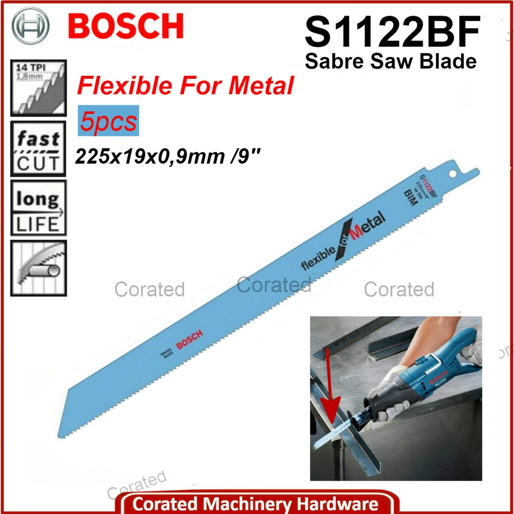 Bosch S1122BF Sabre Saw Blades For Metal Fast Cut 2608656019 Pack Of 5